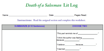 Death of a Salesman Literature Log