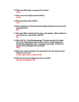 Death of a Salesman Reading Quiz - Act I