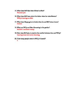 Death of a Salesman Reading Quiz - Act II / Requiem