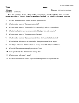 Death of a Salesman Test Questions