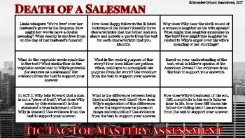 Death of a Salesman Tic Tac Toe Mastery Assessment