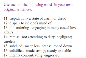 Death of a Salesman Vocabulary List