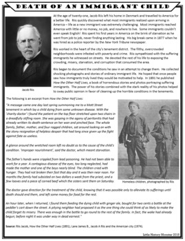 Death of an Immigrant Child - Immigration / Progressive Era Story with Worksheet