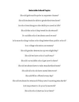 Debatable School Topics