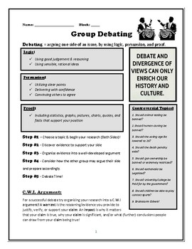 Debate Activity Handout