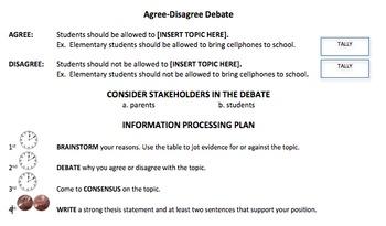 Debate:  Agree - Disagree Form