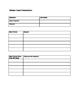 Debate Any Topic Worksheet