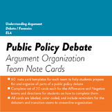 Debate Argument Organization Note Cards