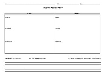 Debate Assessment and Rubric