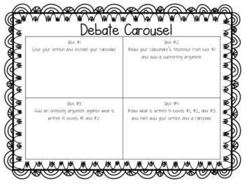 Debate Carousel with 20 Debate Prompts!