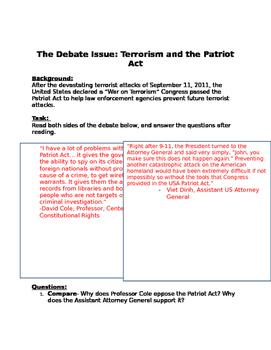 Debate: Civil Liberties & National Security- Terrorism & Patriot Act Worksheet
