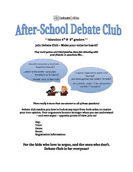 Debate Club Registration Flyer