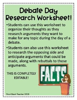 Debate Day Research Worksheet **EDITABLE**