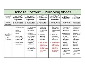 debate format planning sheet tool for teaching students to debate. Black Bedroom Furniture Sets. Home Design Ideas