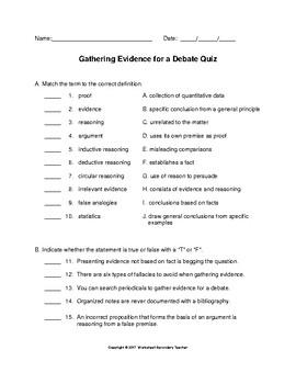 Debate Gathering Evidence Mini Lesson
