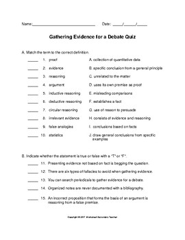 Debate Gathering Evidence Lesson