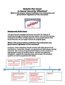 Debate: Is Social Security Effective? free enterprise? or