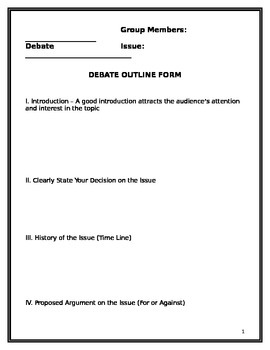 Debate Outline and Rubric