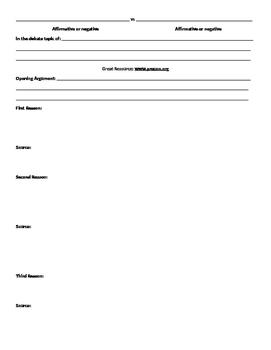 Debate Outline for Formal Debates in the Classroom