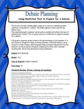 Debate Planning Organizer for Grades 4-8