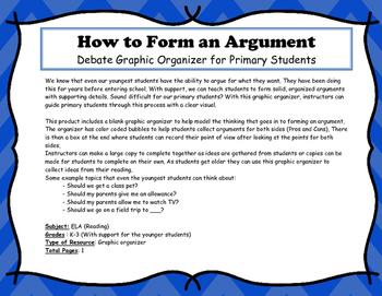 Debate Planning Organizer for Primary Grades K-3