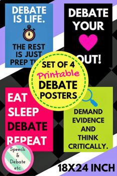 Debate Posters, Set of 4 Printable 18X24
