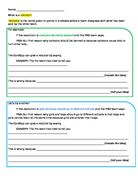 debate rebuttal worksheet by mary 39 s worksheets tpt. Black Bedroom Furniture Sets. Home Design Ideas