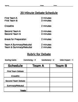 Debate Schedule & Rubric