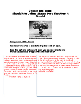 Debate: Should the United States have Dropped the Atomic Bomb- primary sources