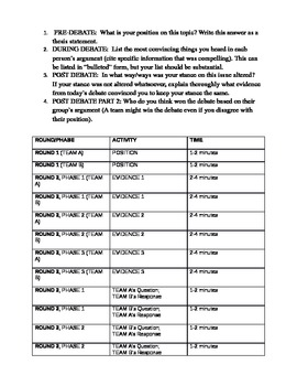 Debate Structure and Assignment