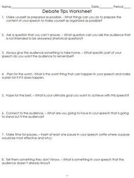 Debate Tips Worksheet! Get your students prepared for their debate!