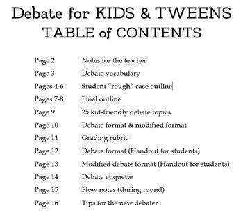 debate for kids tweens tips outlines rubrics other resources. Black Bedroom Furniture Sets. Home Design Ideas