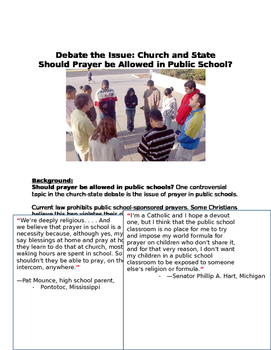 Debate the Issue: Church and State Should Prayer be Allowed in Public School?