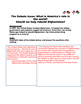 Debate the Issue: What is America's role in the world? help rebuild Afghanistan?