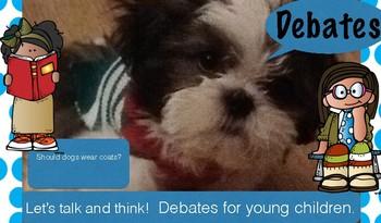 Debates for young children- PreK & Kindergarten. Real photographs.