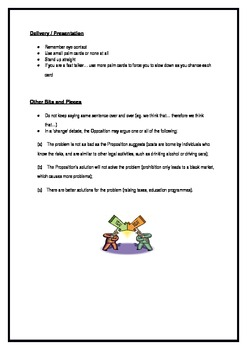 Debating Beginners Handbook - Cheat Sheet - Word Doc so you can edit