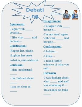 Debating Sentence Starters Anchor Chart