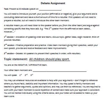 Debating for Beginners! **FREEBIE** Assignment & Marking pack