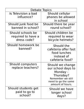 Debating in the Classroom