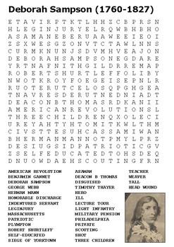 Deborah Sampson Word Search