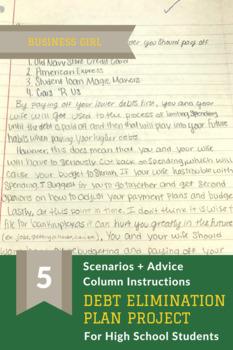 Debt Elimination Plan Project: 5 Scenarios + Advice Column Instructions + Rubric