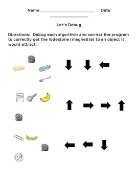 Debug Programming Coding Unplugged Activity EDITABLE