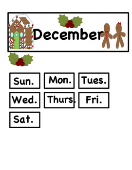 Dec. Gingerbread AABB Pattern Calendar Cards: Fit Small and Reg Calendars