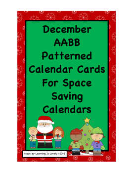 Dec. Holiday Calendar Cards With AABB Pattern:Fit Reg and Small Calendars