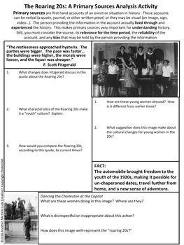 Decade of Roaring 20s 1920s U.S. History Primary Source Analysis Bundled Set
