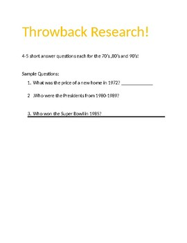 Decade's Throwback Research Webquest