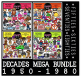 Decades (1950-1980) Clip Art Bundle