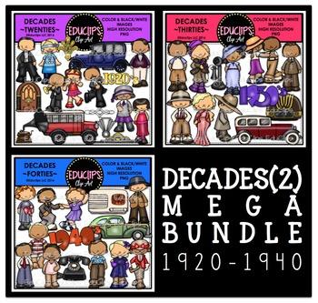 Decades (2) 1920-1940 Clip Art Mega Bundle {Educlips Clipart}