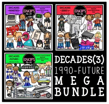 Decades 3 Clip Art Mega Bundle 1990-Future {Educlips Clipart}