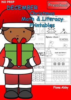 December No Prep Printables for Preschool